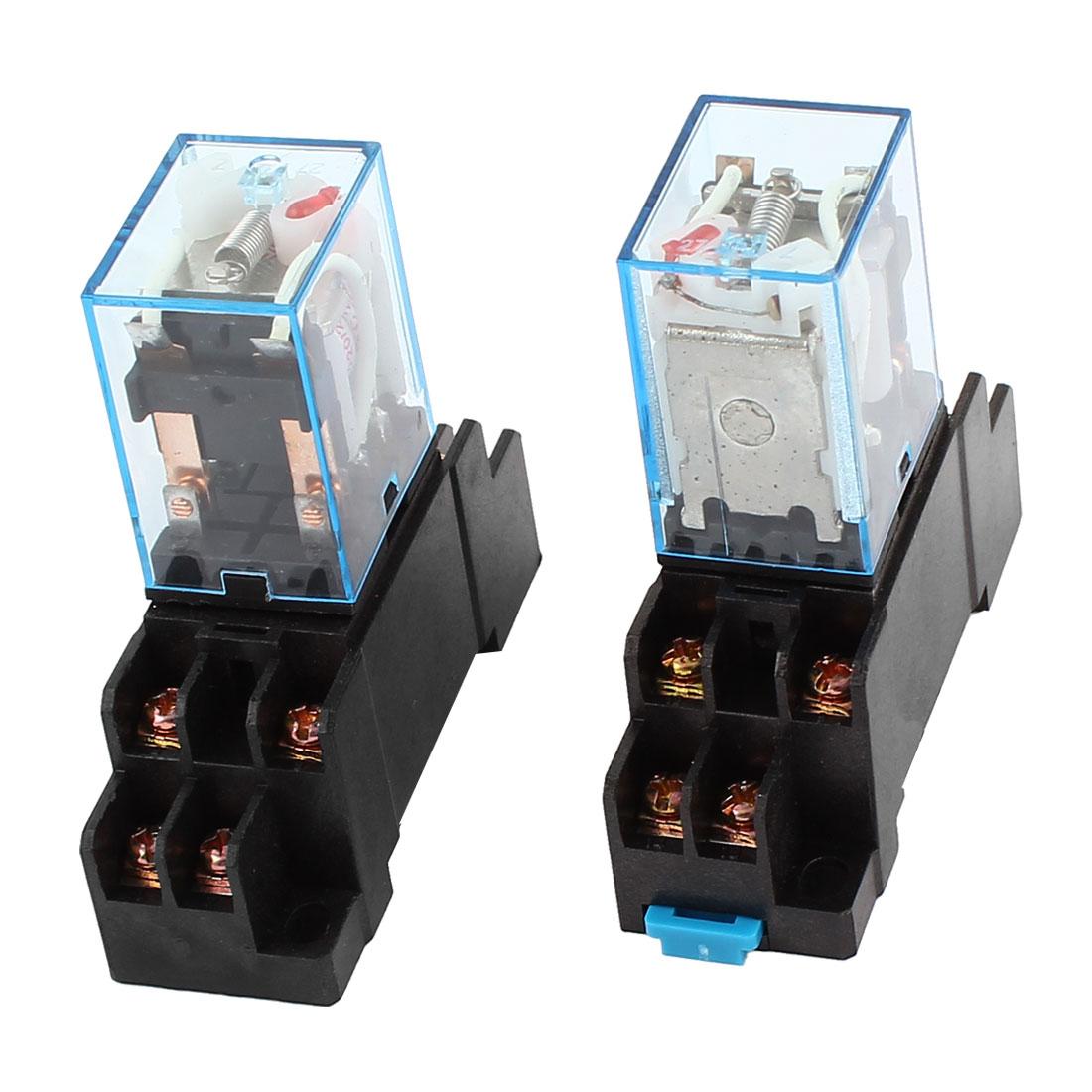 2 x AC 220V-240V Coil 8Pin DPDT 35mm DIN Rail Mount General Power Relay + Socket