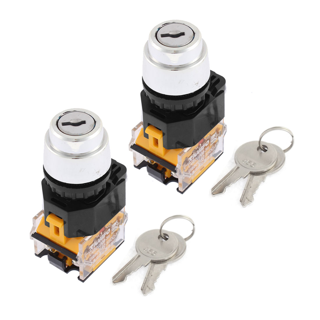2 Pcs LA86D 2-Position 2NO Key Start Locking Momentary Power Switch AC 380V 10A