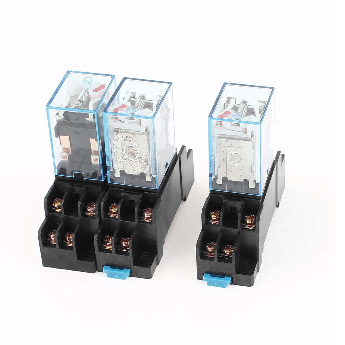 3 Pcs AC 220V/240V 5A Coil Red Indicator Light 35mm DIN Rail DPDT 8Pins Electromagnetic General Purpose Power Relay + Socket Base