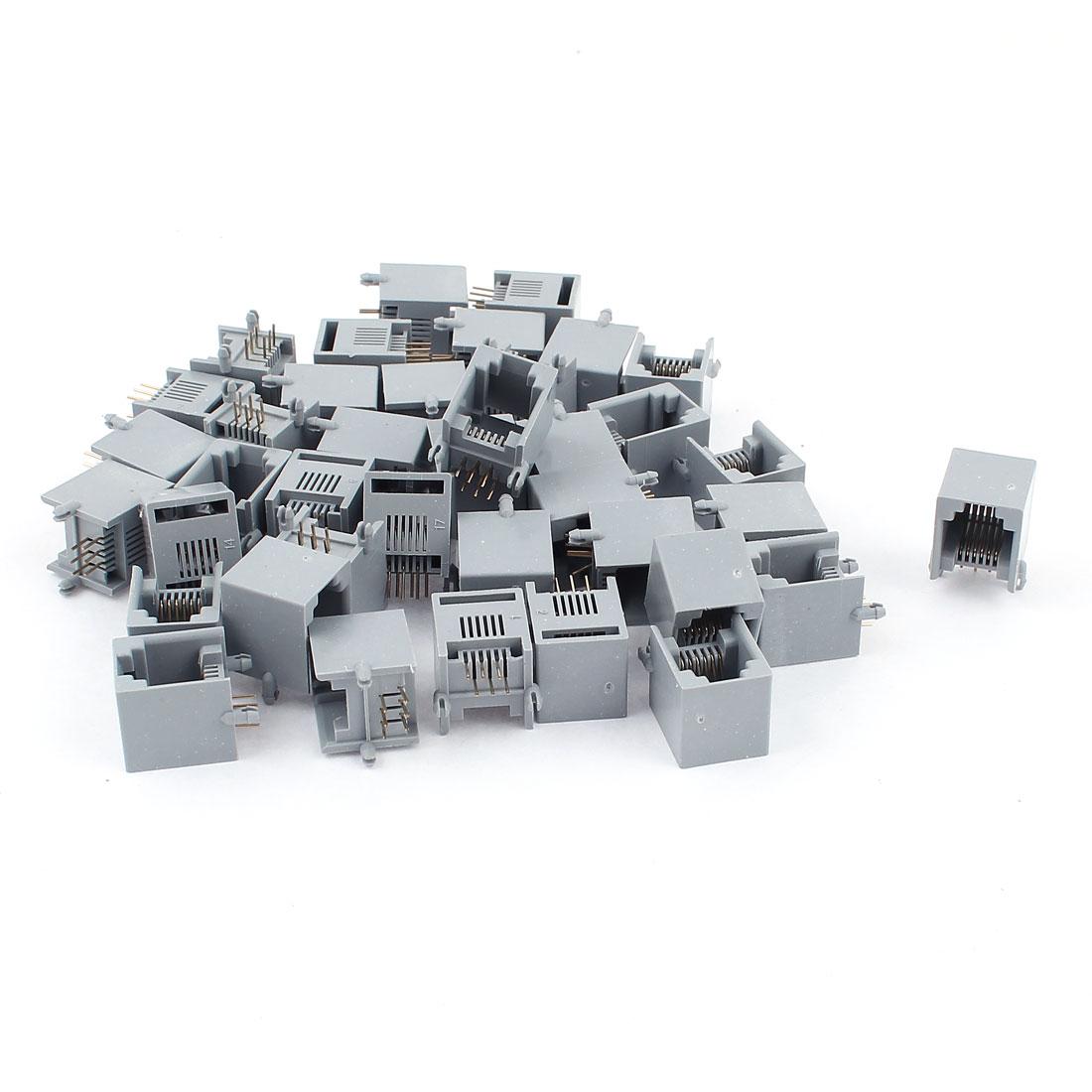 40 Pcs Gray Plastic 180 Degree RJ12 6P6C Telephone Modular PCB Connector Jacks