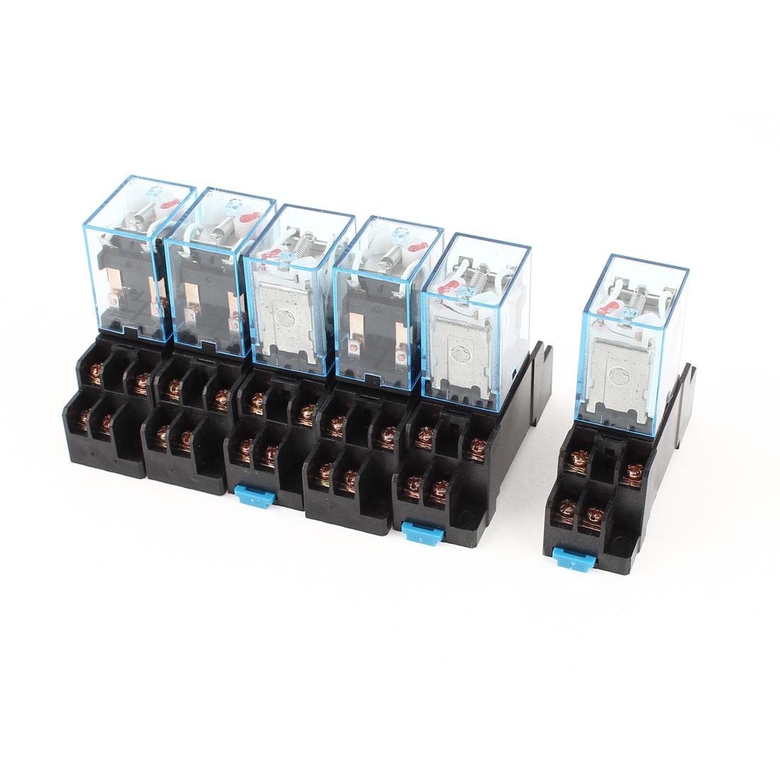 6 Pcs AC 220V-240V Coil DPDT 35mm DIN Rail Electromagnetic Power Relay + Socket