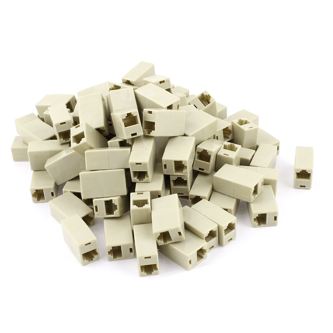 100 Pcs Beige Plastic Shell 8P8C RJ45 Female Cat5 Network Cable Connector Adapter