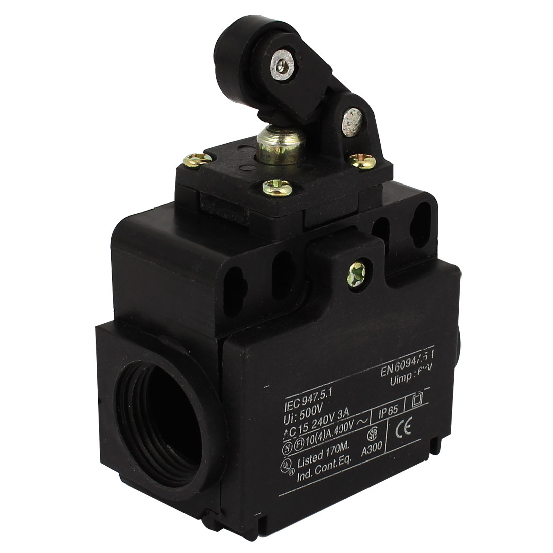 Rolling Cam NO NC Roller Plunger Limit Switch Black 240V 3A