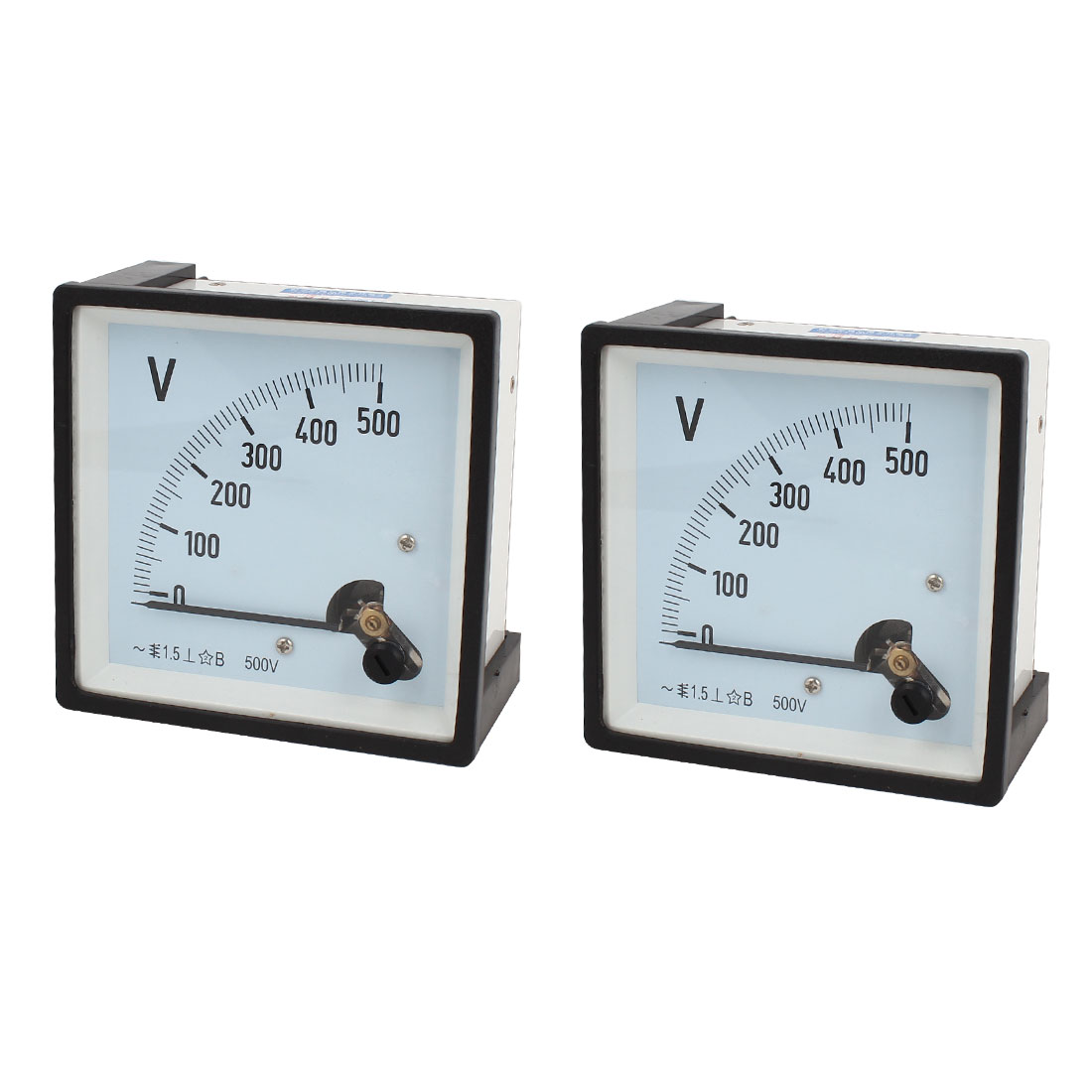 2 Pcs Square Dial Panel Gauge Voltage Meter Voltmeter AC 0-500V Class 1.5