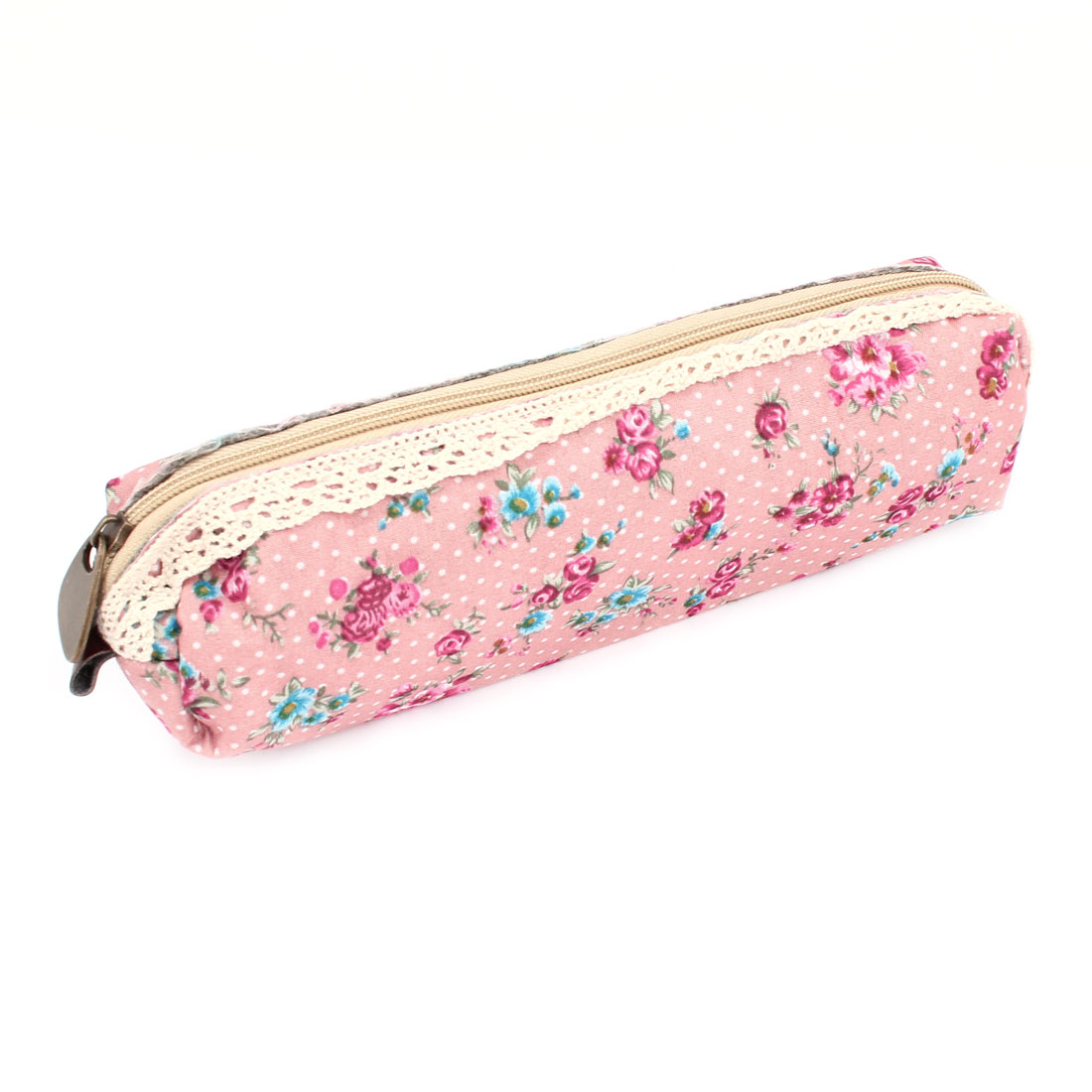 Zippered Lace Rim Florals Dots Pattern Canvas Pen Holder Case Pink Fuchsia