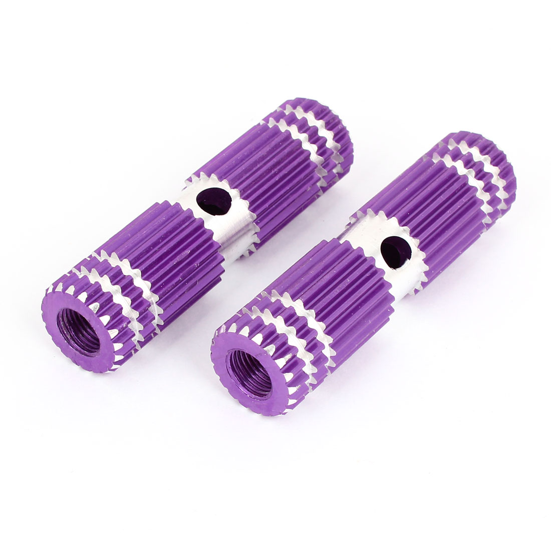 Silver Tone Purple Metal 9mm Axle Hole Dia MTB Bicycle Foot Pegs 2 Pcs