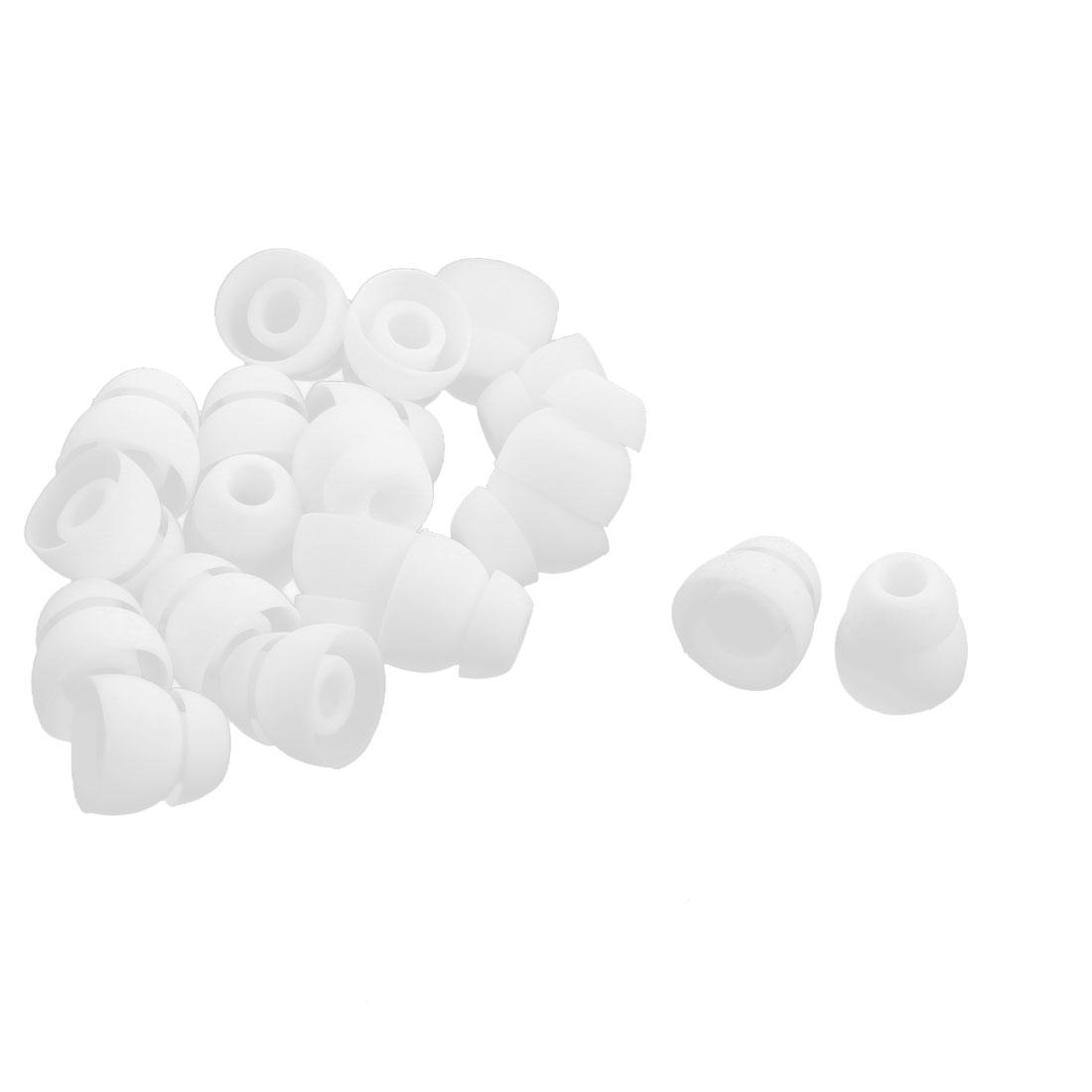 20 Pcs White Silicone Double Flange Earbud Ear Buds Eartips In-Ear Earplug