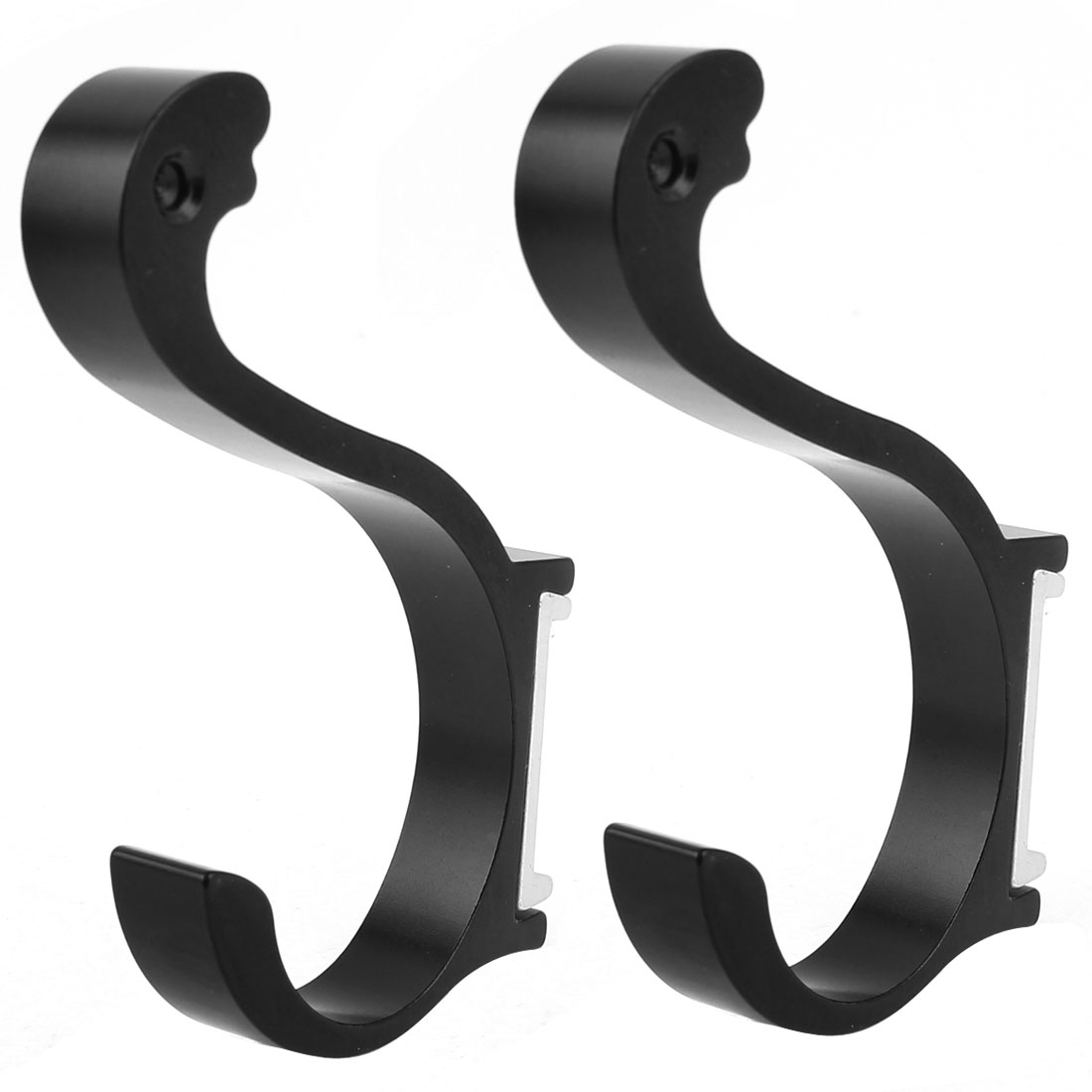 2 Pieces Aluminum Wall Mount Bathroom Towel Holder Robe Hooks Hangers Black 3.7""