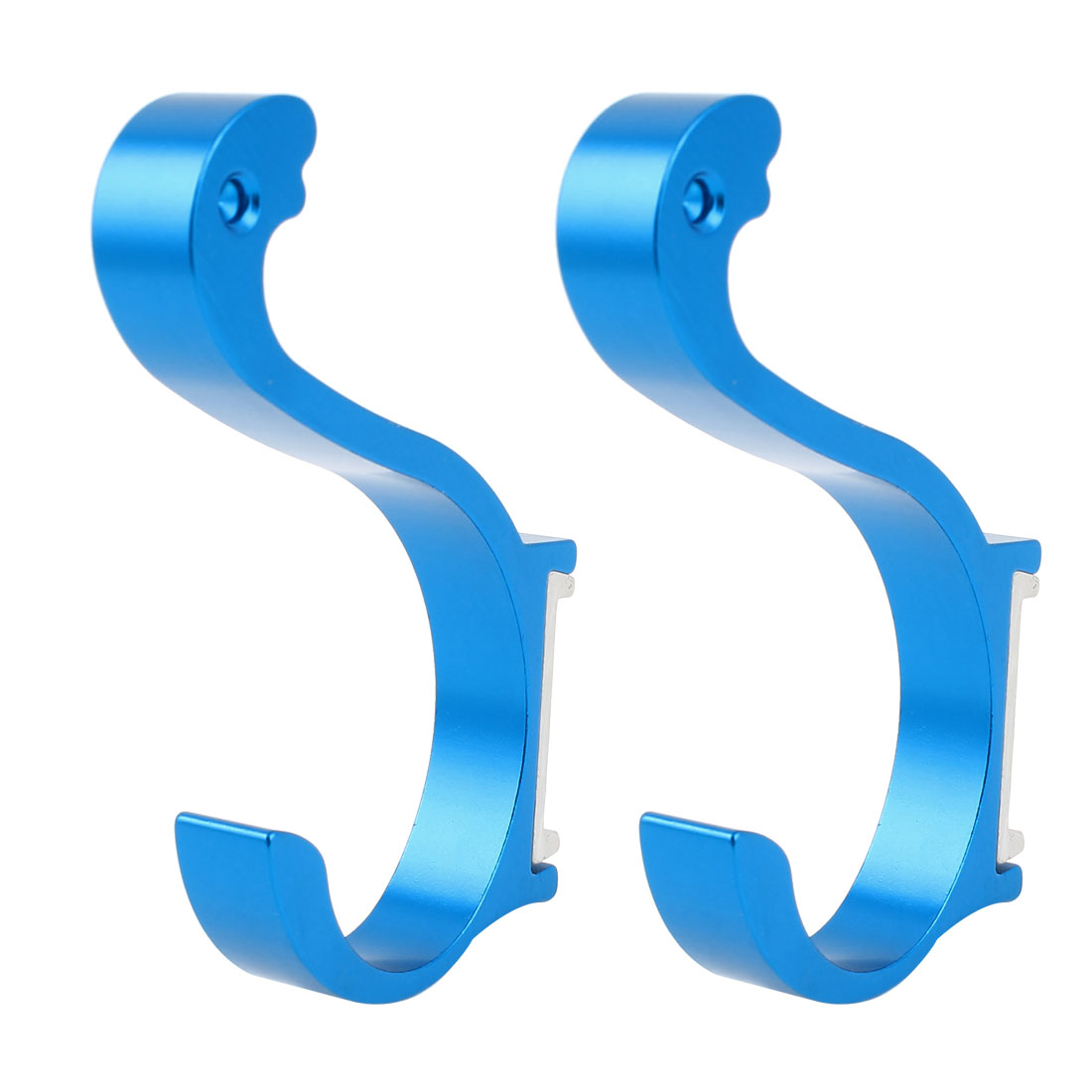 2 Pcs Aluminum Wall Mount Bathroom Towel Holder Robe Hooks Hangers Sky Blue 3.7""