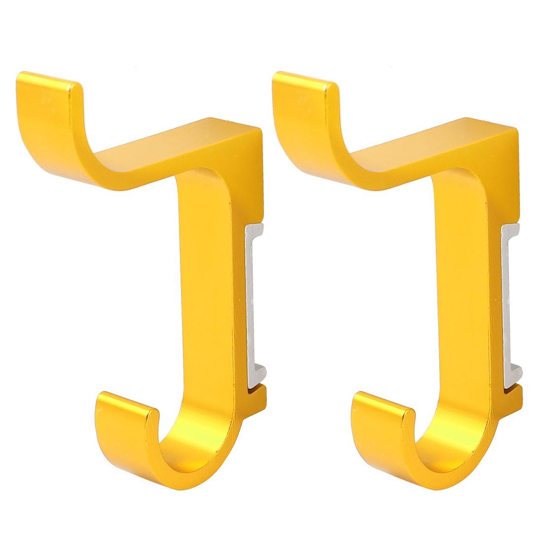 2 Pcs Aluminum Wall Mount Bathroom Towel Holder Robe Hooks Hanger Gold Tone 85mm