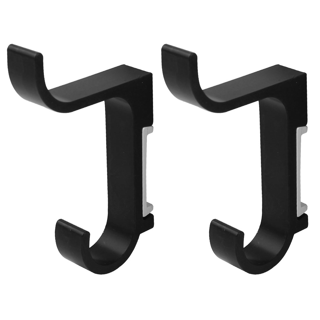2 Pieces Aluminum Wall Mount Bathroom Towel Holder Robe Hooks Hangers Black 85mm