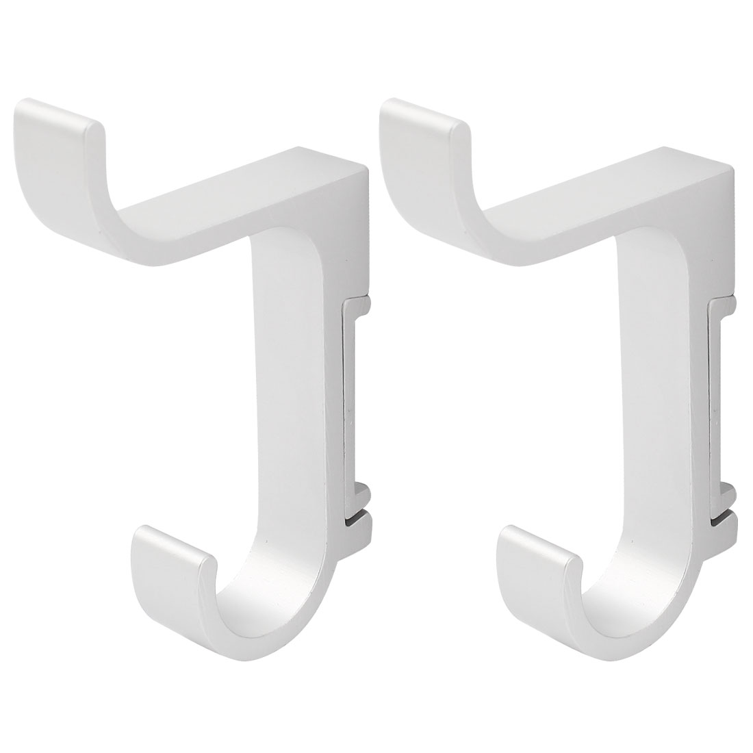 2 Pcs Aluminum Wall Mounted Coat Towel Holder Robe Hooks Hanger Silver Tone 85mm