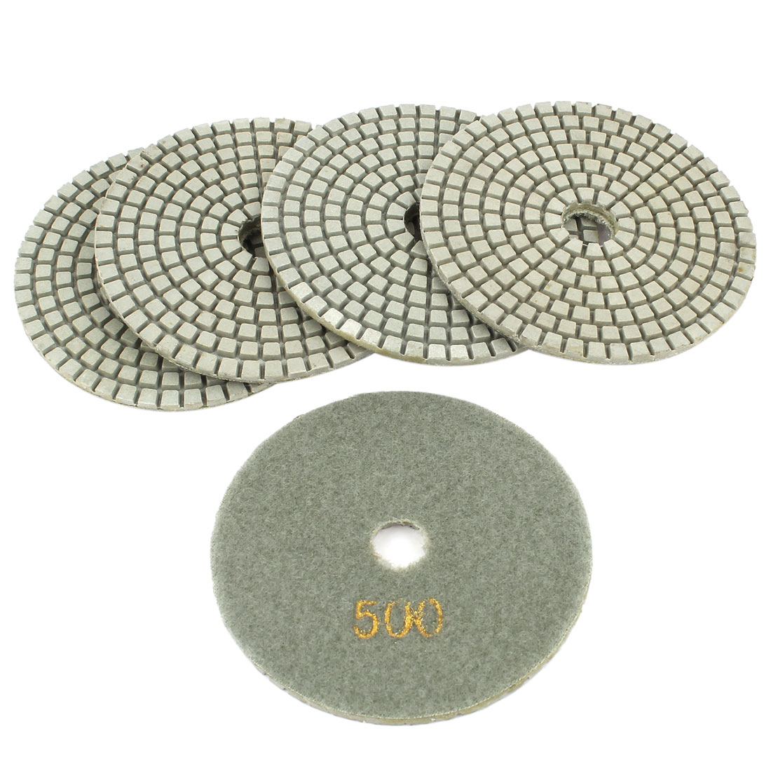 "5 Pcs 4"" Diamond Polishing Wet Pads Grit 500 for Granite Concrete Stone"