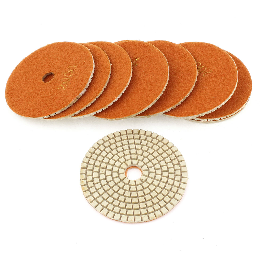 "10 Pcs 4"" Diamond Polishing Wet Pads Grit 2000 Orange for Granite Concrete Stone"