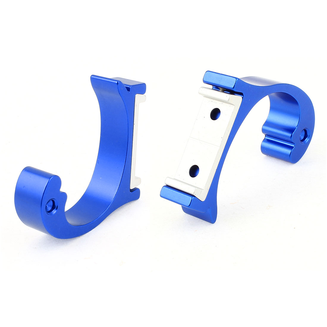 2 Pieces Aluminum Wall Mounting Bathroom Towel Holders Robe Hooks Hanger Blue 2""
