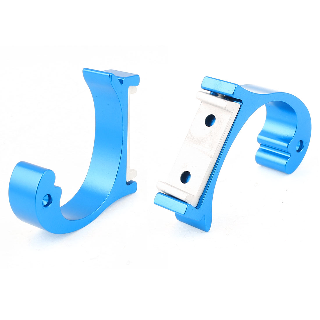 2 Pcs Aluminum Wall Mounted Bathroom Towel Holder Robe Hooks Hangers Sky Blue 2""
