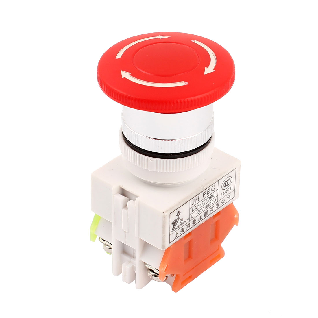 Emergency Stop 40mm Red Mushroom Push Button Switch 660V 10A