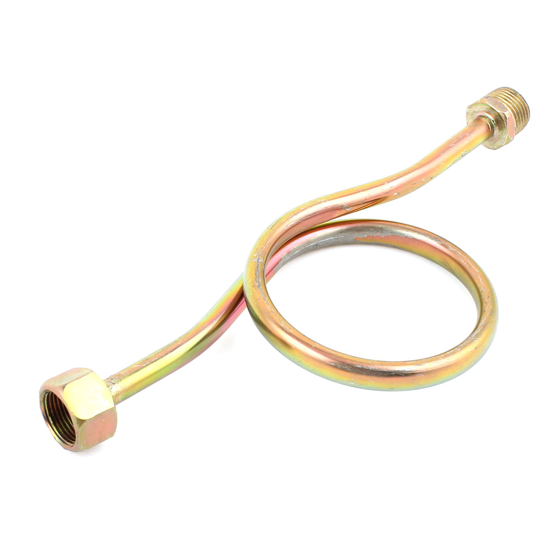 """1/2"""" Female to 1/2"""" Male Thread Copper Tone Metallic Hex Threaded Coiled Pipe Pressure Gauge Syphon Tubes Connectors"""