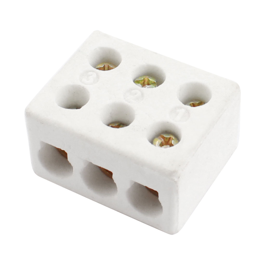 Connector Porcelain Ceramic Terminal Block 3 Way 6 Hole AC 250V 600C