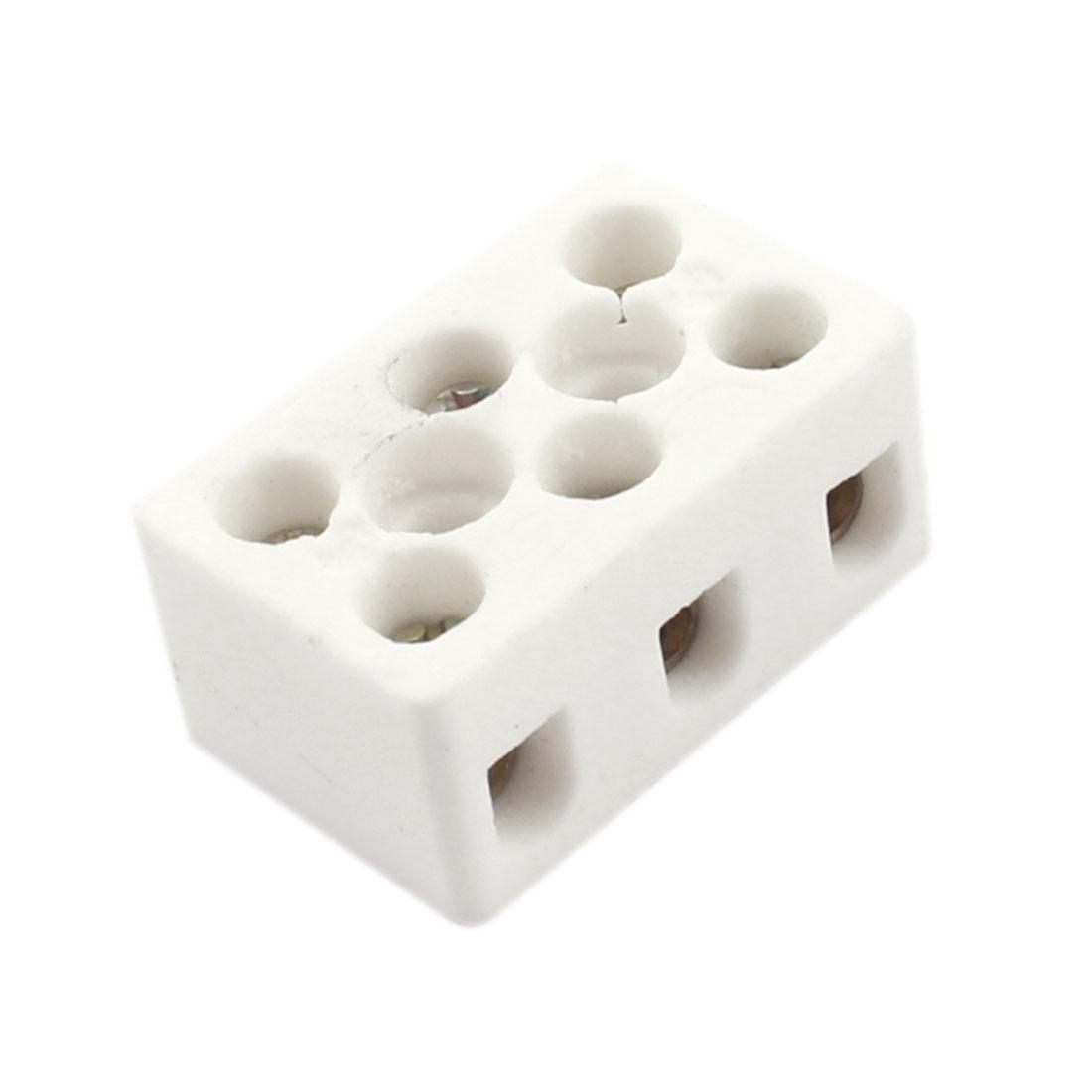 Connector Porcelain Ceramic Terminal Block 3 Way 8 Hole AC 250V 600C