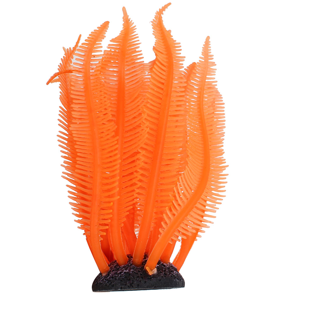 "Orange Silicone Underwater Grass Plant Fish Tank Aquarium Ornament 3.5"" High"