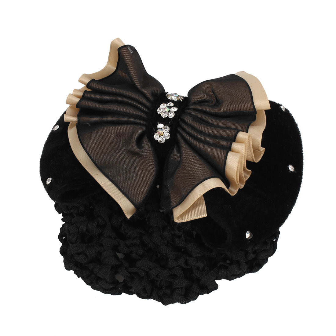 Woman Lady Snood Net Black Bowknot Detail French Clip Hair Barrette