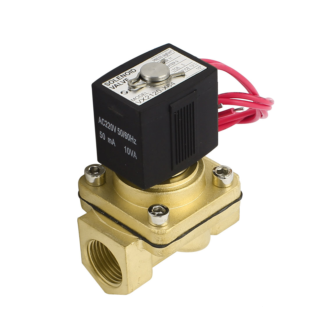 AC 220V 50mA 1/2PT Threaded 2 Port 2 Position Solenoid Valve