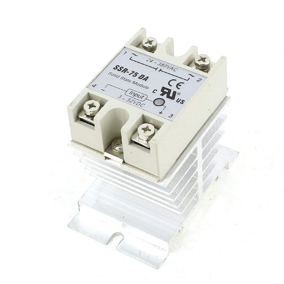 DC-AC 3-32V 24-380V 75A One Phase 4 Screw Terminal Silver Tone Aluminum Heat Sink SSR Solid State Relay