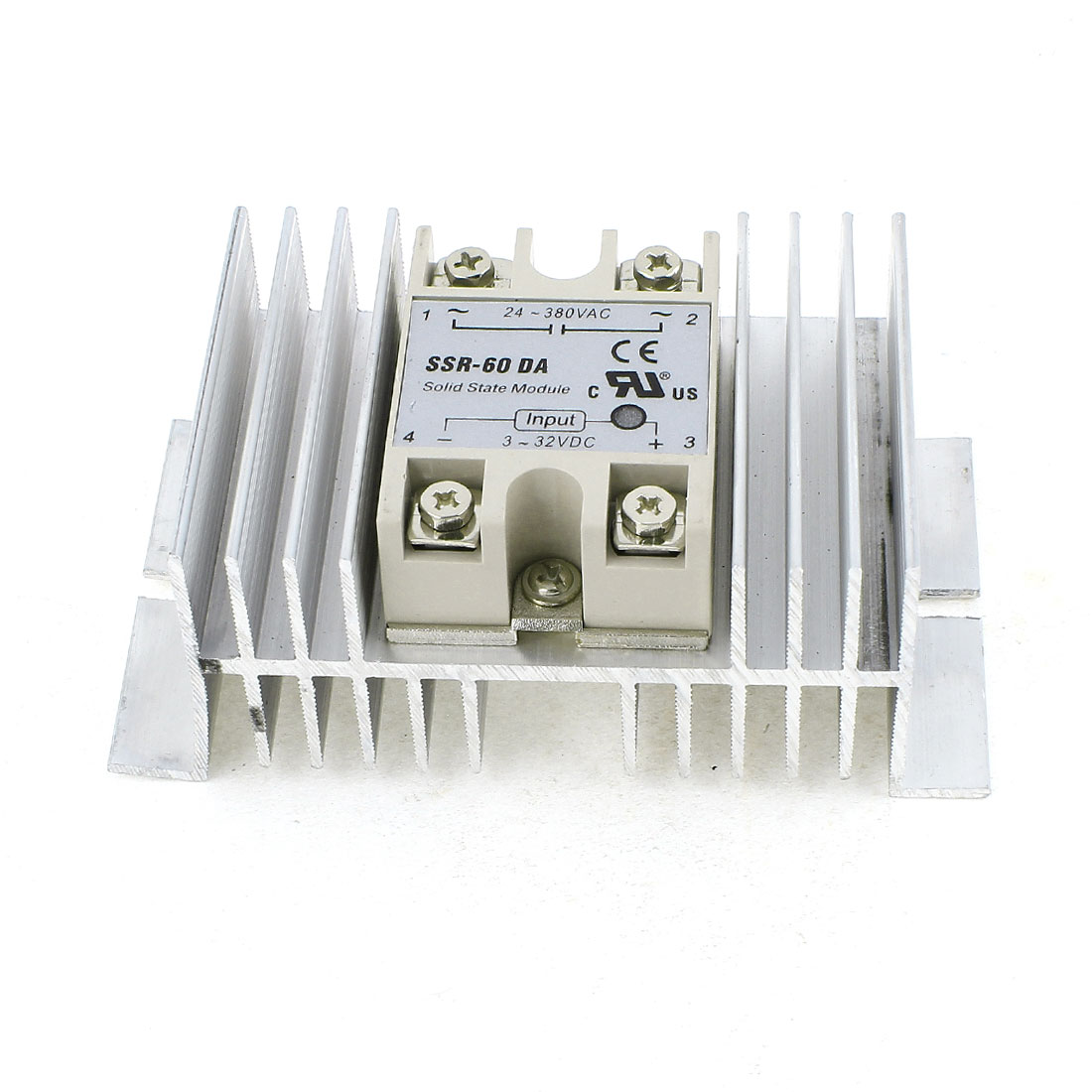 SSR-60DA DC 3-32V Control Silver Tone Aluminum Heatsink 4 Screw Terminal Single Phase SSR Solid State Relay