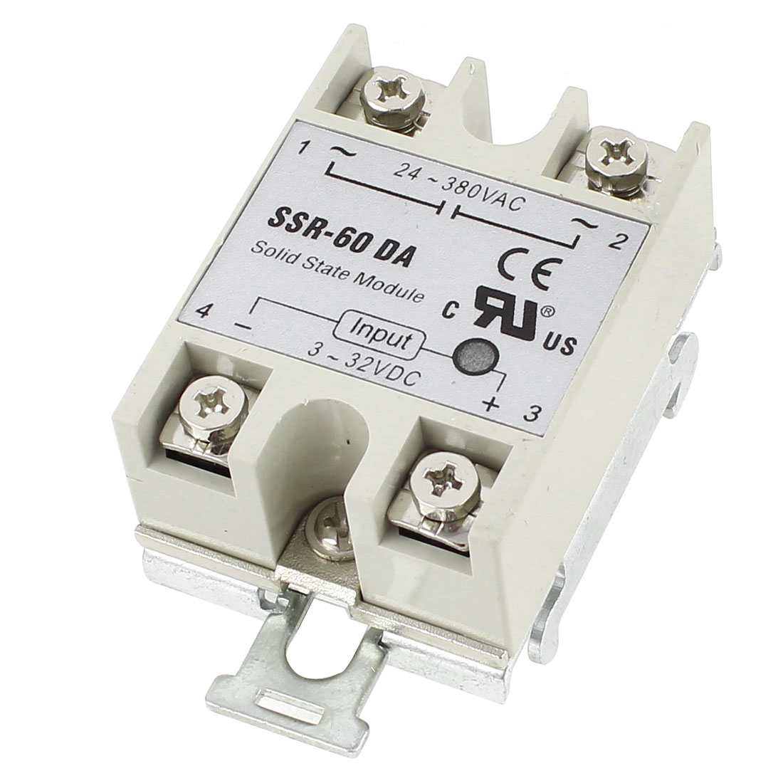 DC 3-32V to AC 24-380V 60A 35mm DIN Rail Mount 4 Screw Terminal Single Phase Solid State Relay w Bracket Socket