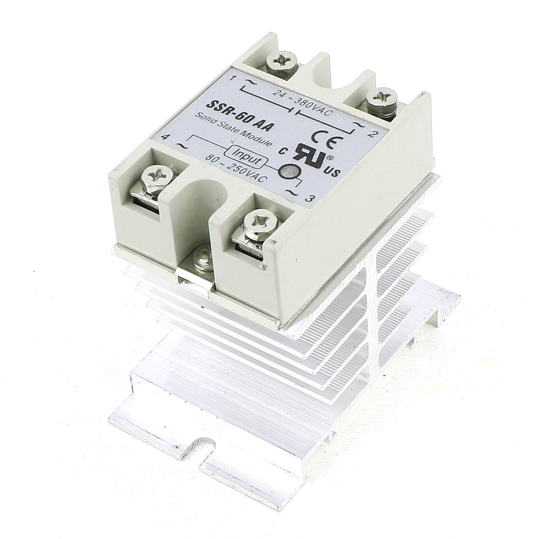AC 24-380V 60A Output Single Phase Silver Tone Aluminum Heat Sink SSR Solid State Relay