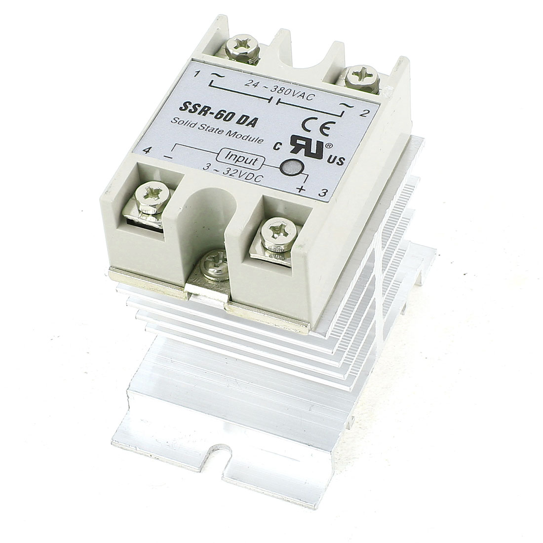 DC 3-32V to AC24-380V 60A Silver Tone Aluminum Heatsink 4 Screw Terminal Single Phase SSR Solid State Relay