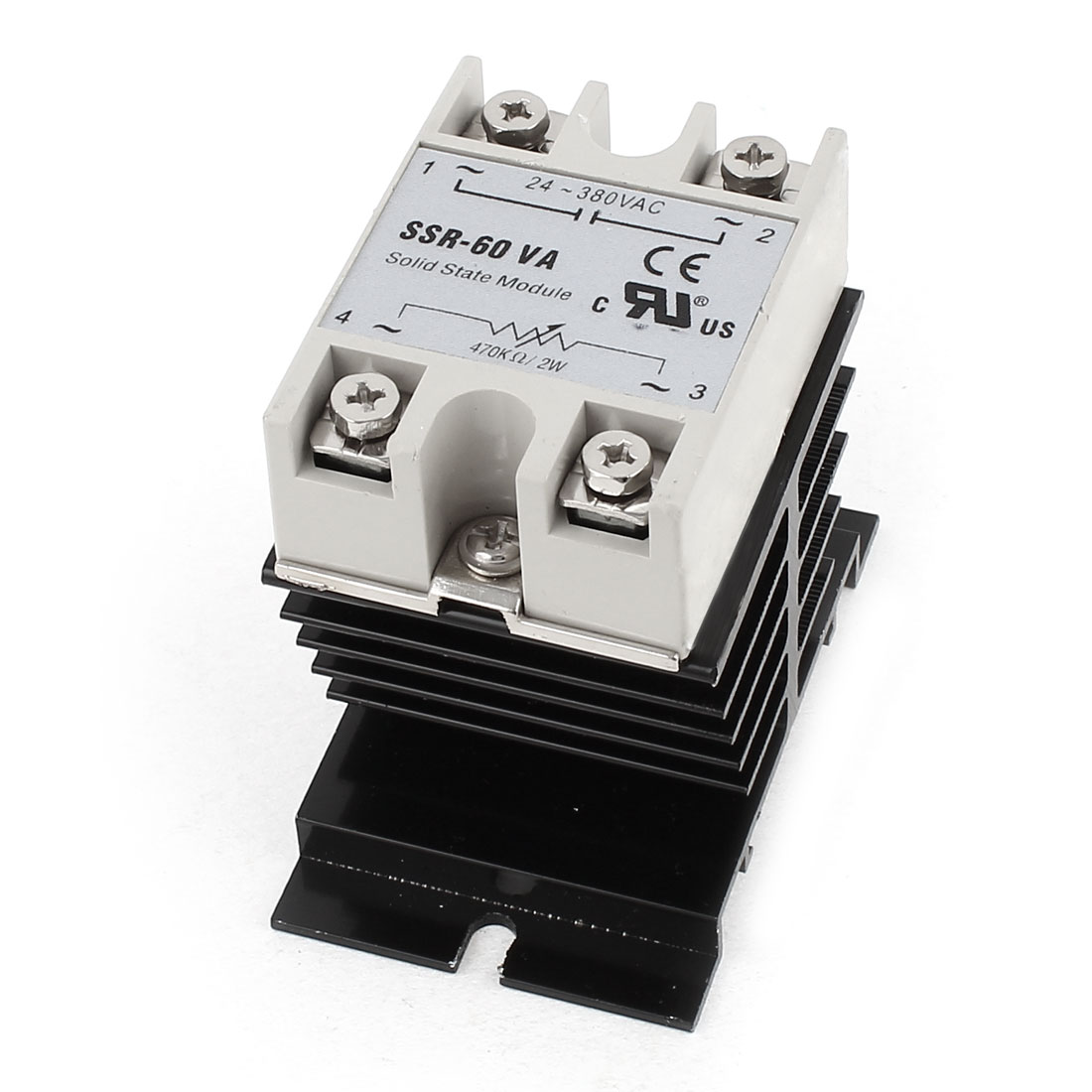 470K Ohm 2W to AC 24-380V 60A Black Aluminum Heat Sink 4 Screw Terminal Single Phase SSR Solid State Relay