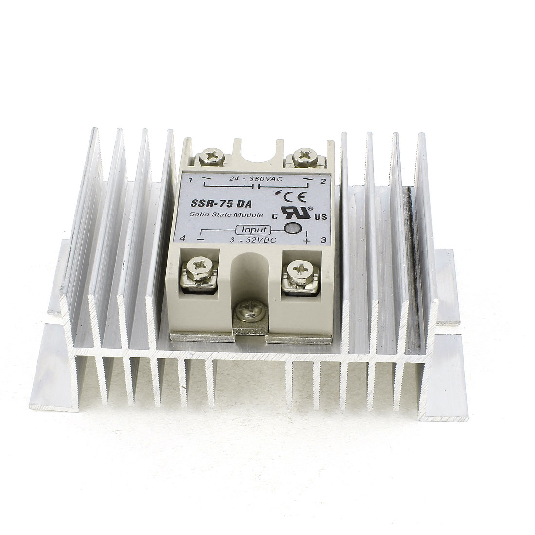 SSR-75DA DC 3-32V Control Silver Tone Aluminum Heat Sink Single Phase SSR Solid State Relay