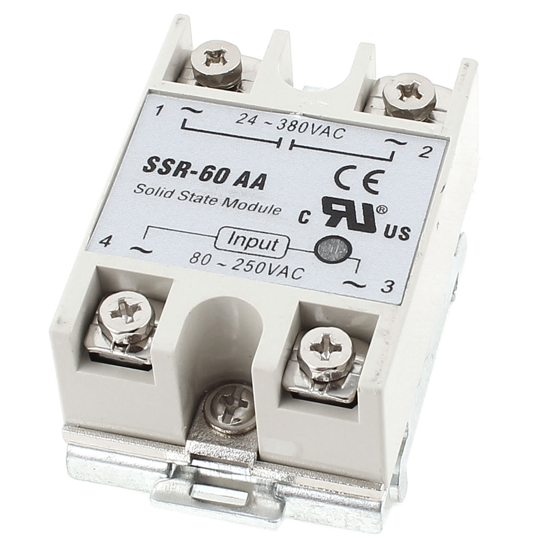 AC 24-380V 60A Output Spring Load 35mm DIN Rail Mount Single Phase SSR Solid State Relay w Bracket Socket