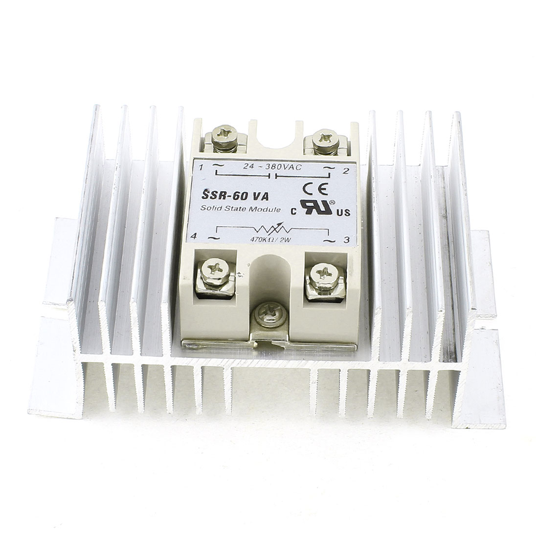 470K Ohm 2W Control Silver Tone Aluminum Heatsink 4 Screw Terminal One Phase Solid State Relay