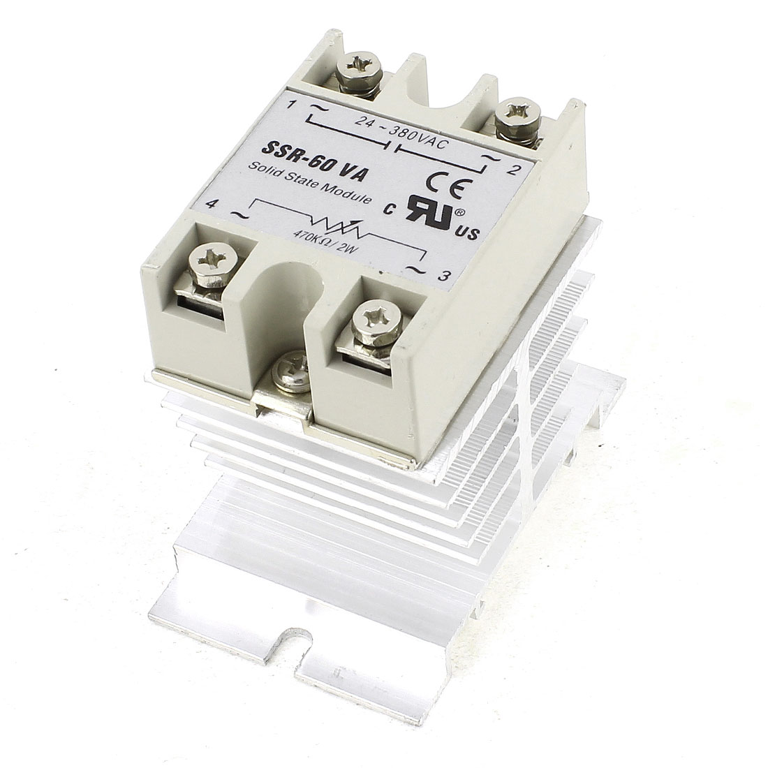 AC 24-380V 60A 4 Screw Terminal One Phase Silver Tone Aluminum Heat Sink SSR Solid State Relay