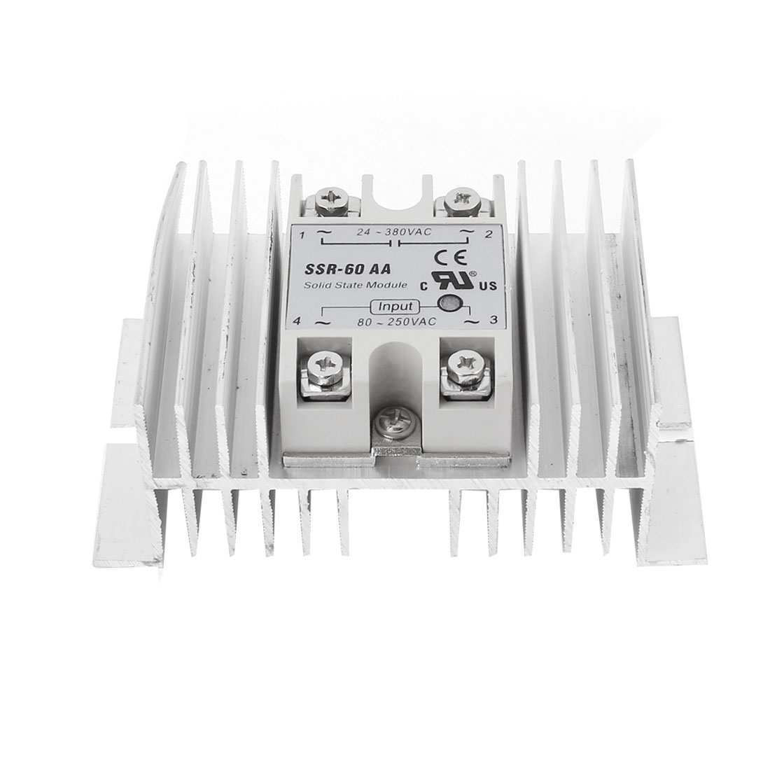 SSR-60AA AC80-250V Control Silver Tone Aluminum Heat Sink Single Phase SSR Solid State Relay