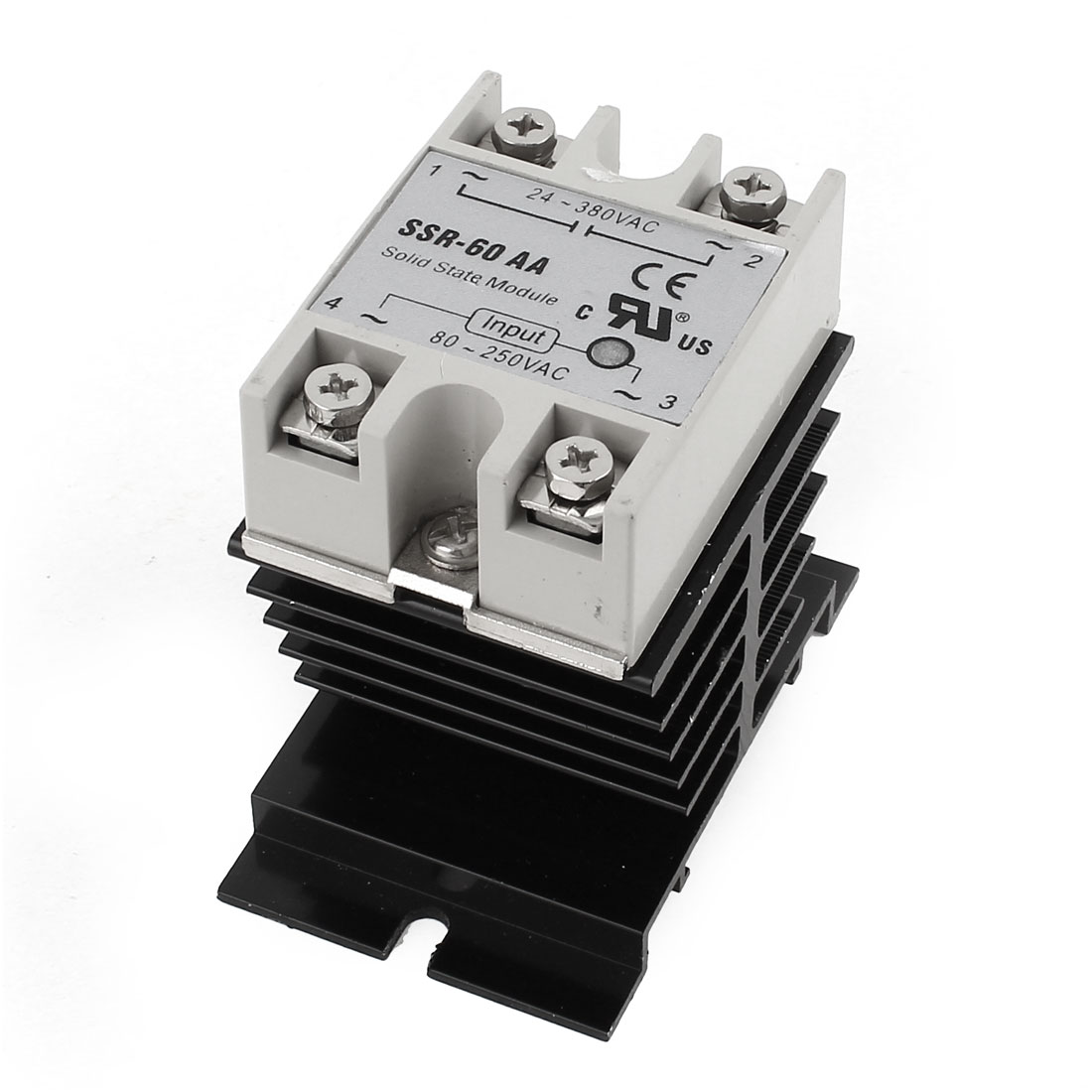 AC-AC 80-250V 24-380V 60A 4 Screw Terminal Single Phase Black Aluminum Heat Sink SSR Solid State Relay