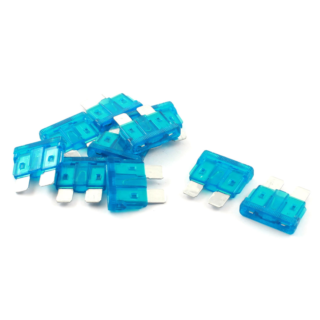 Auto Motorcycle Blue Plastic Coated Plug in Type Mini ATO ATC Automotive Blade Fuse 15A 10Pcs
