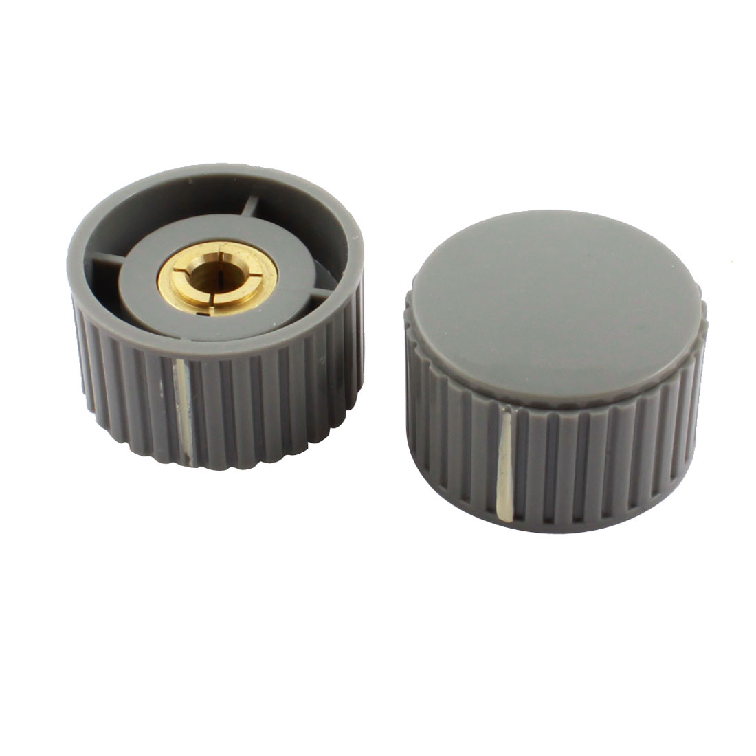 2 Pcs 6mm Dia Hole Gray Plastic Rotary Nonslip Volume Control Potentiometer Encoder Knob Cap 32mm