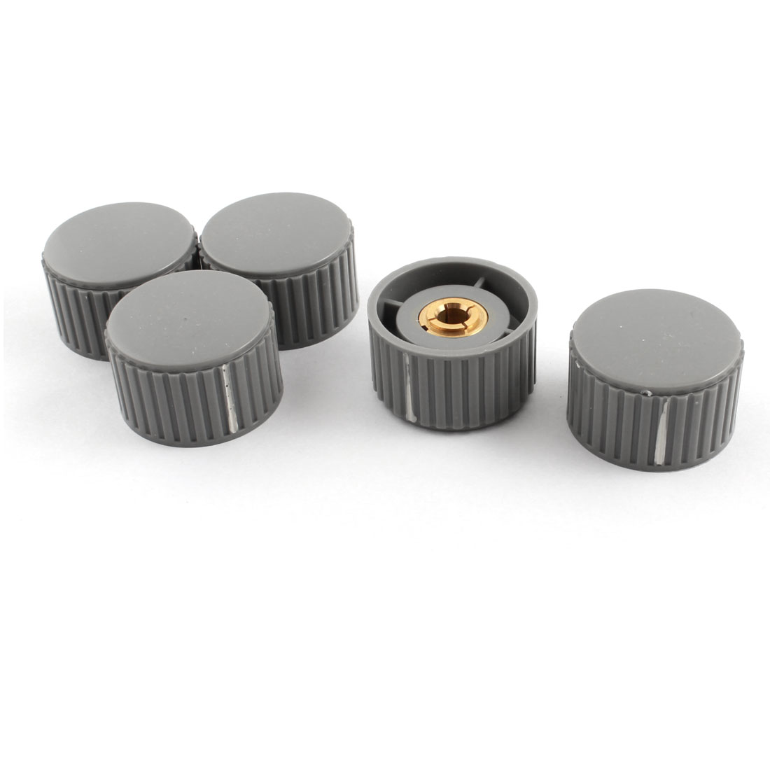 5Pcs 6mm Dia Hole Gray Plastic Rotary Nonslip Volume Control Potentiometer Encoder Knob Cap 32mm