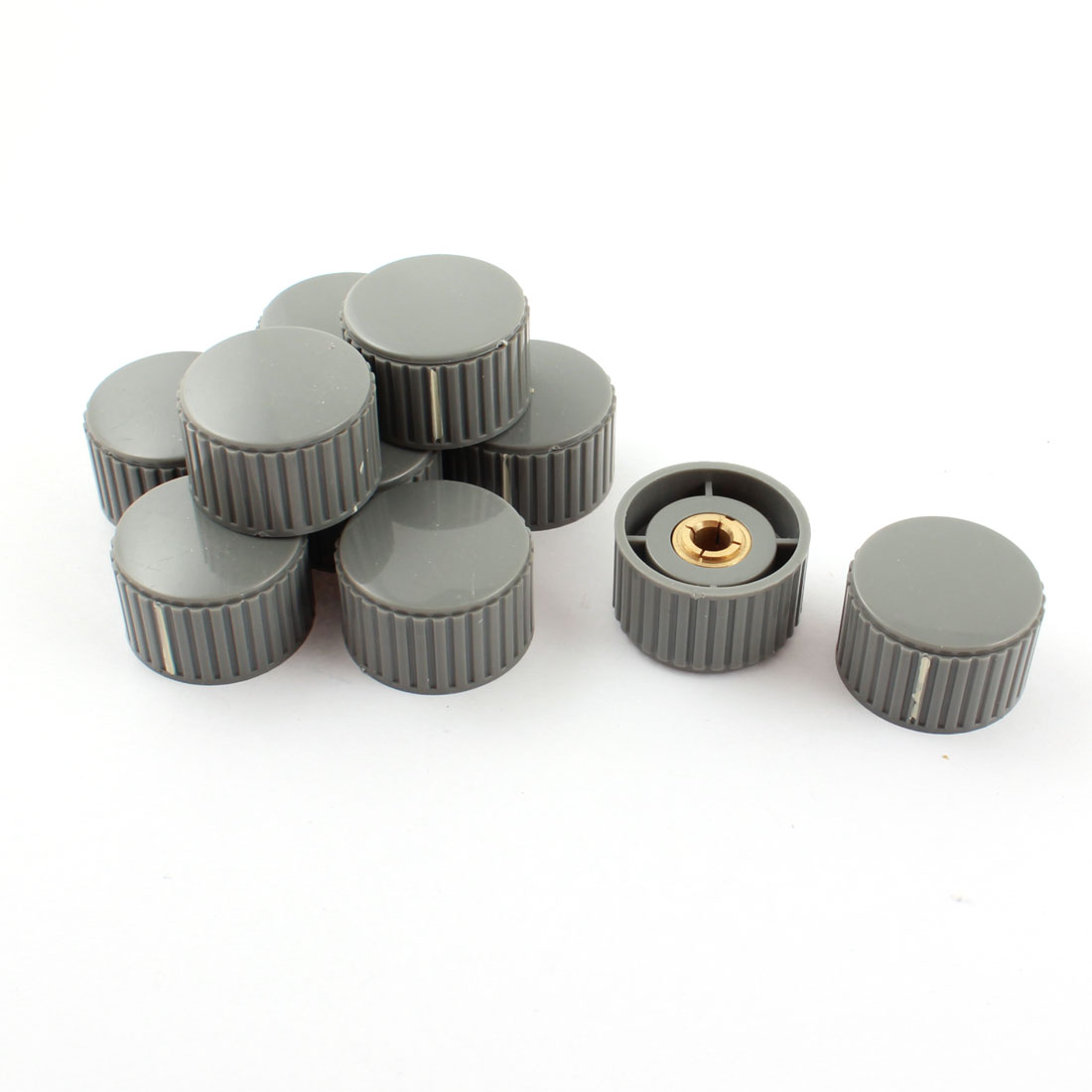 10Pcs 32mm Nonslip Gray Plastic Volume Control Rotary Potentiometer Encoder Knob for 6mm Dia Shaft