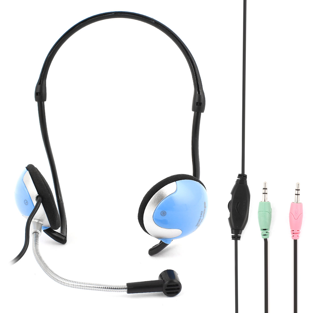 3.5mm Stereo Wired Headphone Headset Black Blue for Mobile Phone Notebook Tablet
