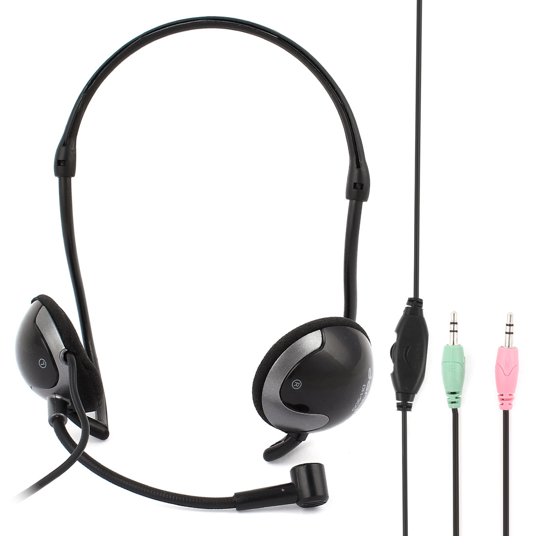 3.5mm Stereo Wired Headphone Headset Black for Mobile Phone Laptop PC Tablet
