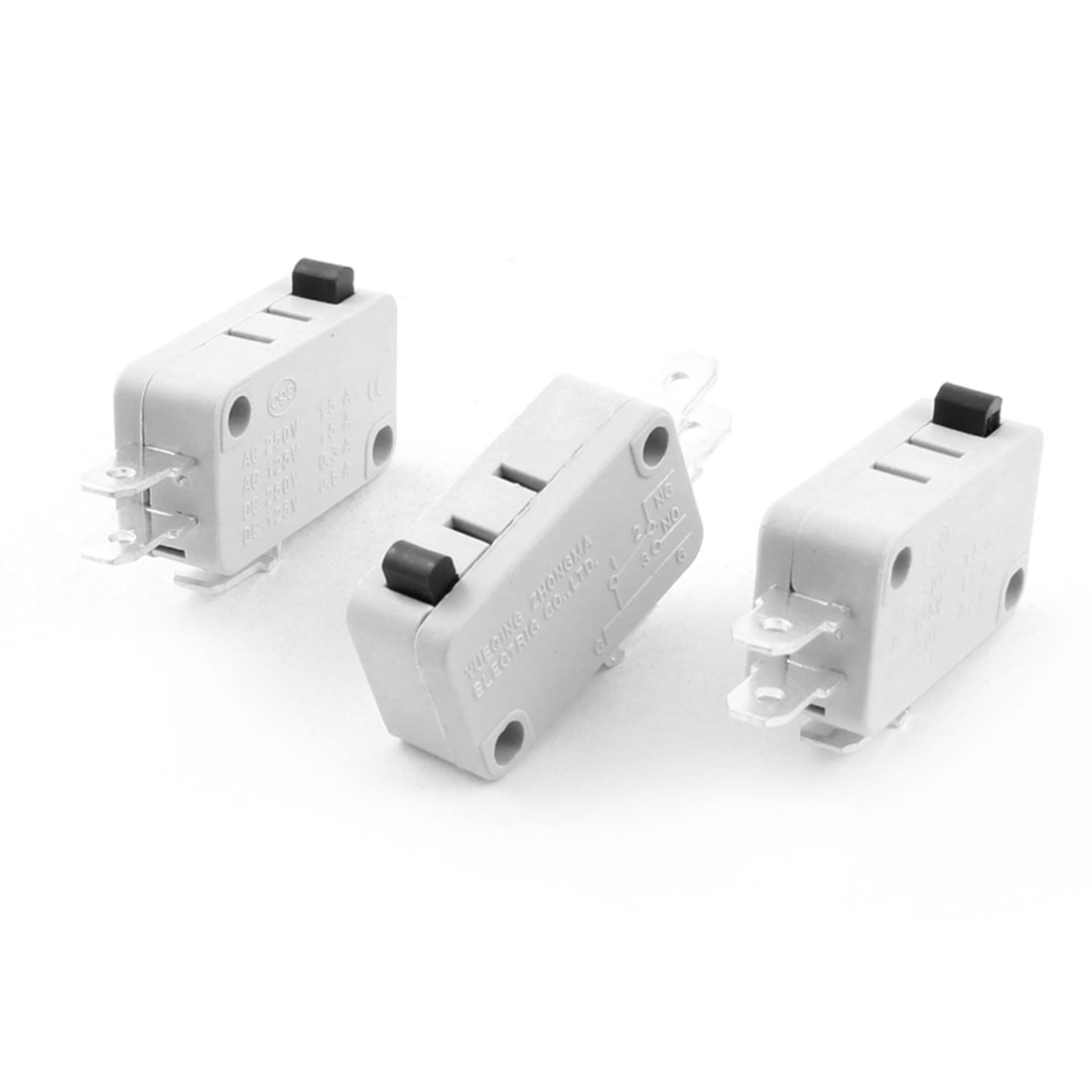 3Pcs AC250V 15A SPDT 1NO+1NC Momentary Push Button Actuator White Plastic Limit Micro Switch