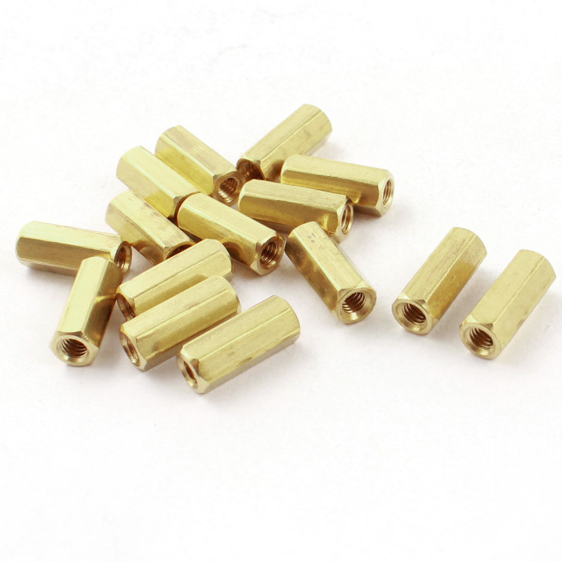 15 Pcs M3 x 12mm Female Thread Dual Ends Gold Tone Brass Pillar PCB Standoff Hexagonal Nut Spacer