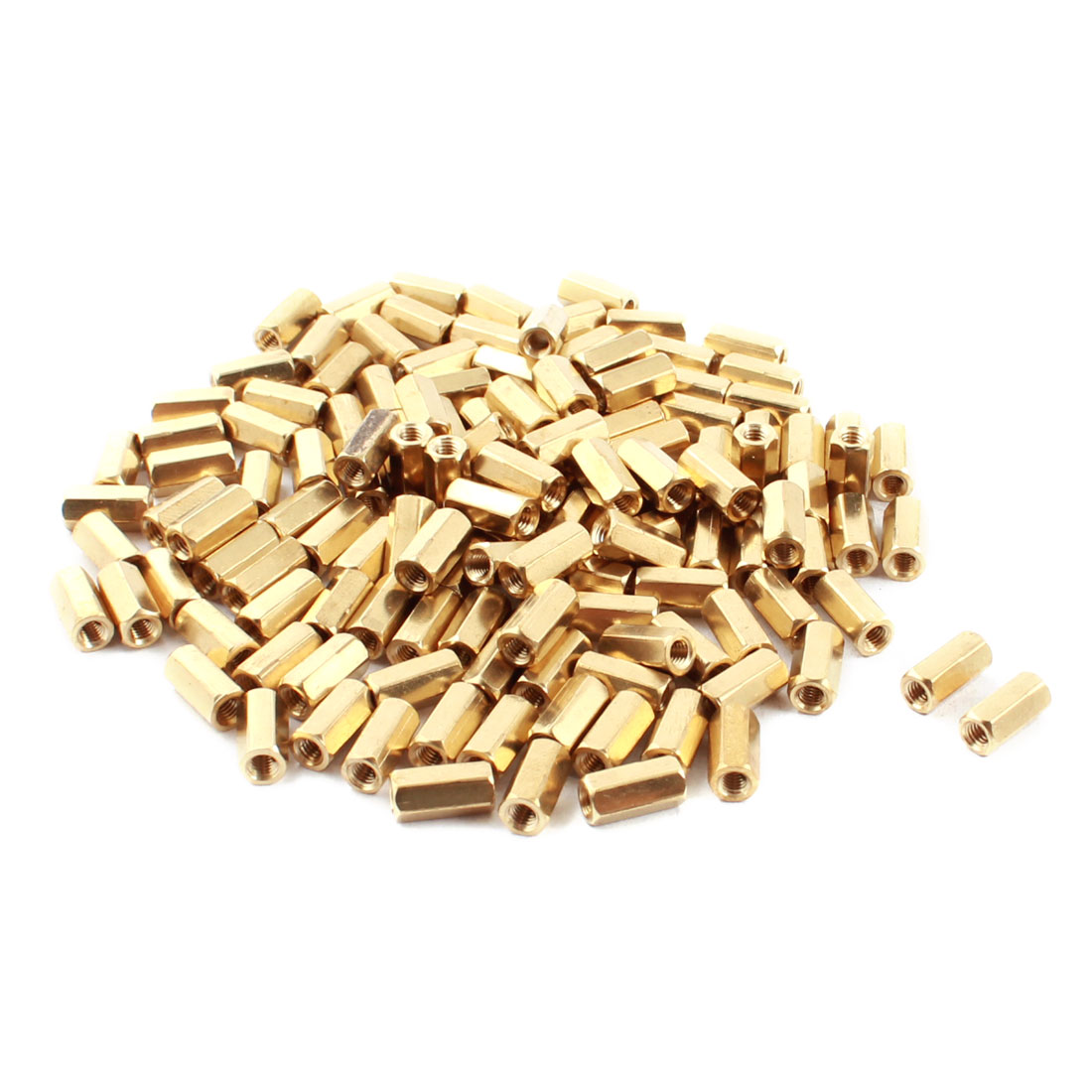 130Pcs Female Thread Gold Tone Dual Ends Brass Pillar PCB Standoff Hexagonal Spacer M3 x 10mm