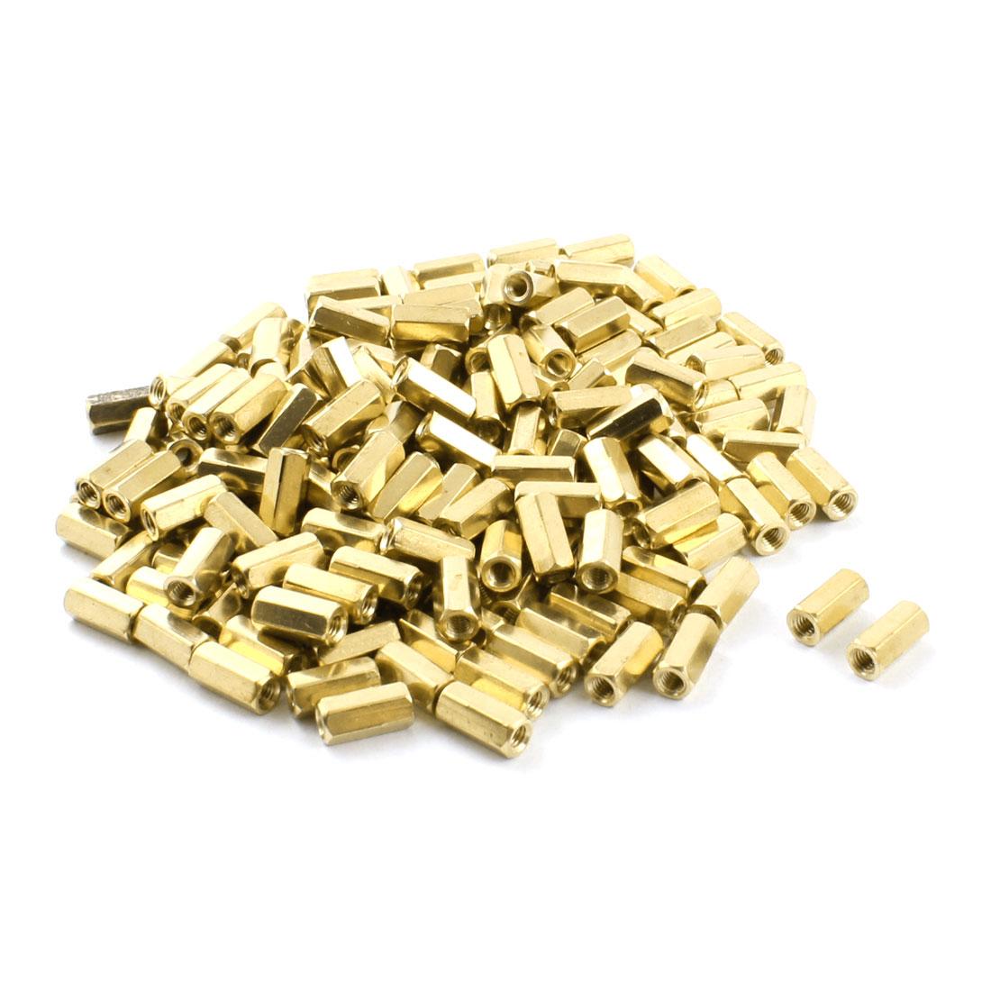 200Pcs M3 x 10mm Female Thread Gold Tone Brass Nut PCB Hexagonal Nut Standoff Spacer
