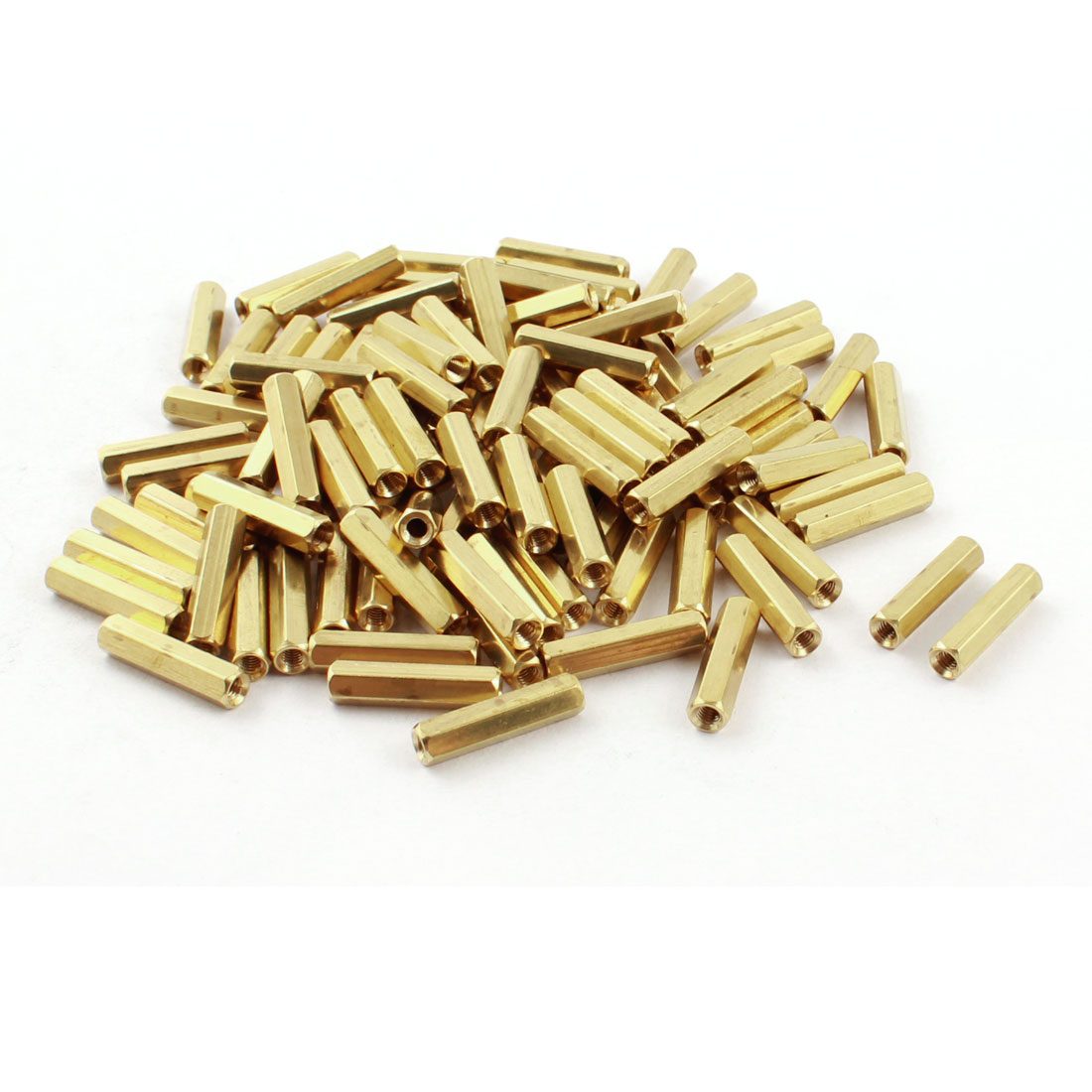 100Pcs Female Thread Gold Tone Dual Ends Brass Pillar PCB Standoff Hexiagonal Spacer M3 x 20mm